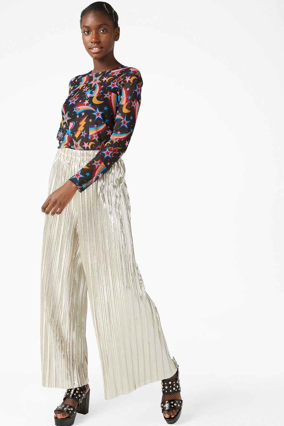 Model front image of Monki wide metallic trousers in silver