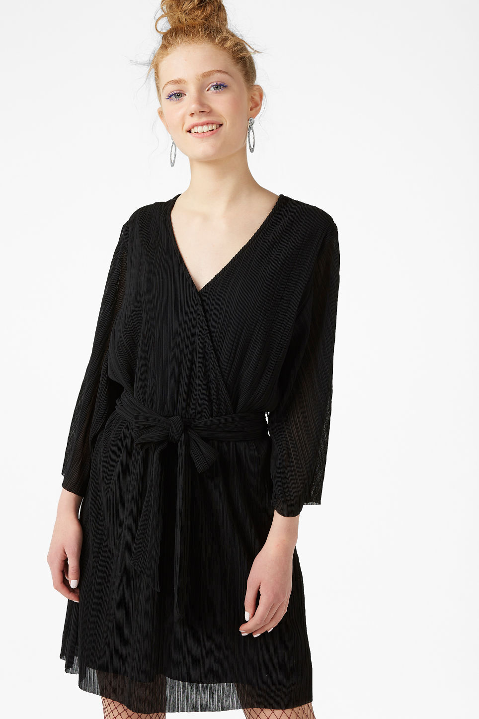 Model front image of Monki pleated dress in black