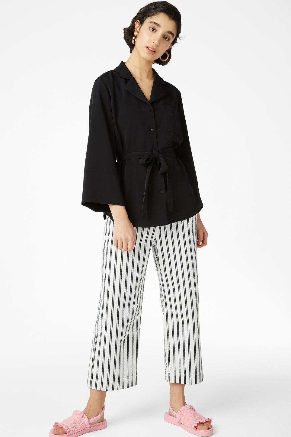 Model front image of Monki tie waist blouse in black