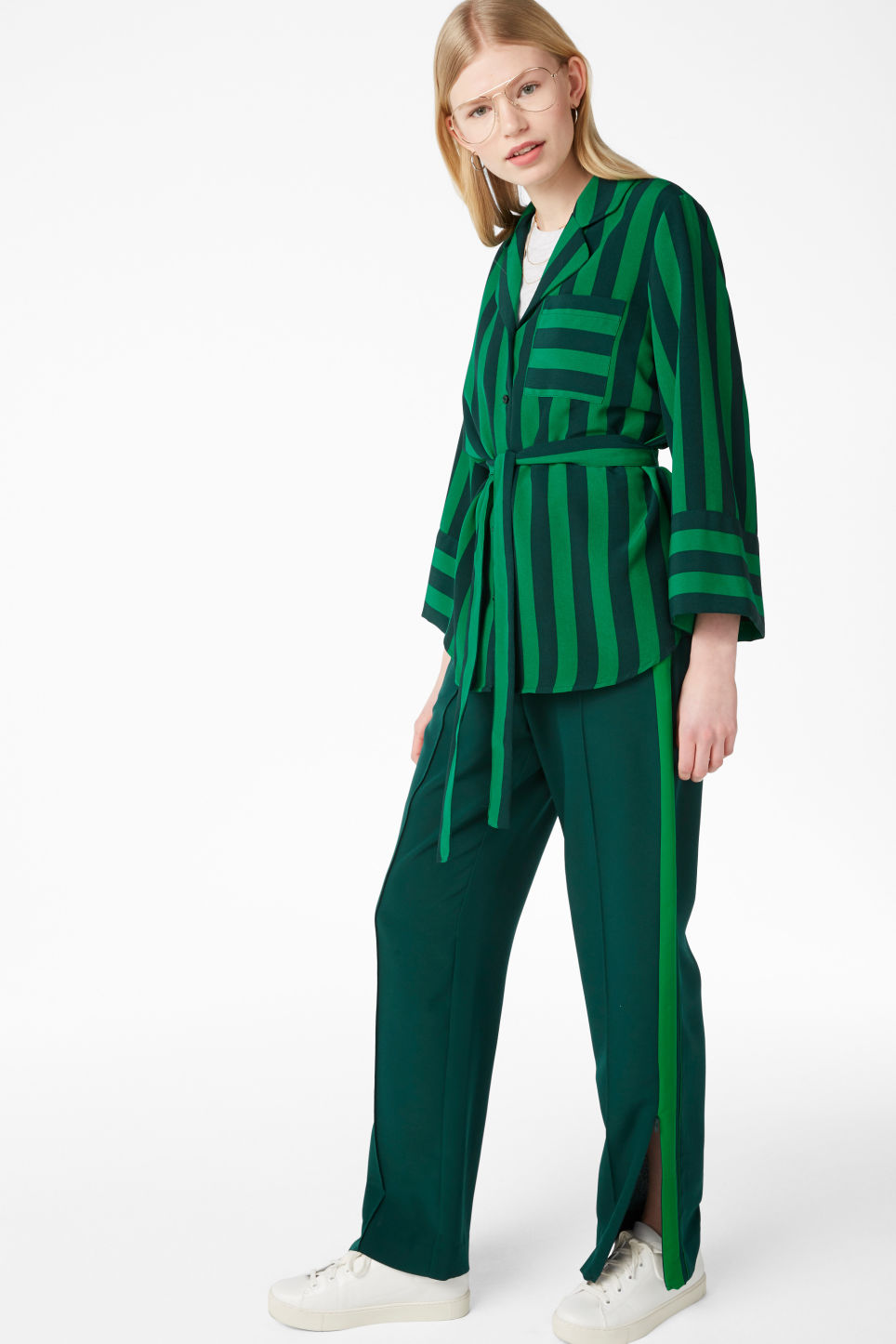 Model front image of Monki tie waist blouse in green