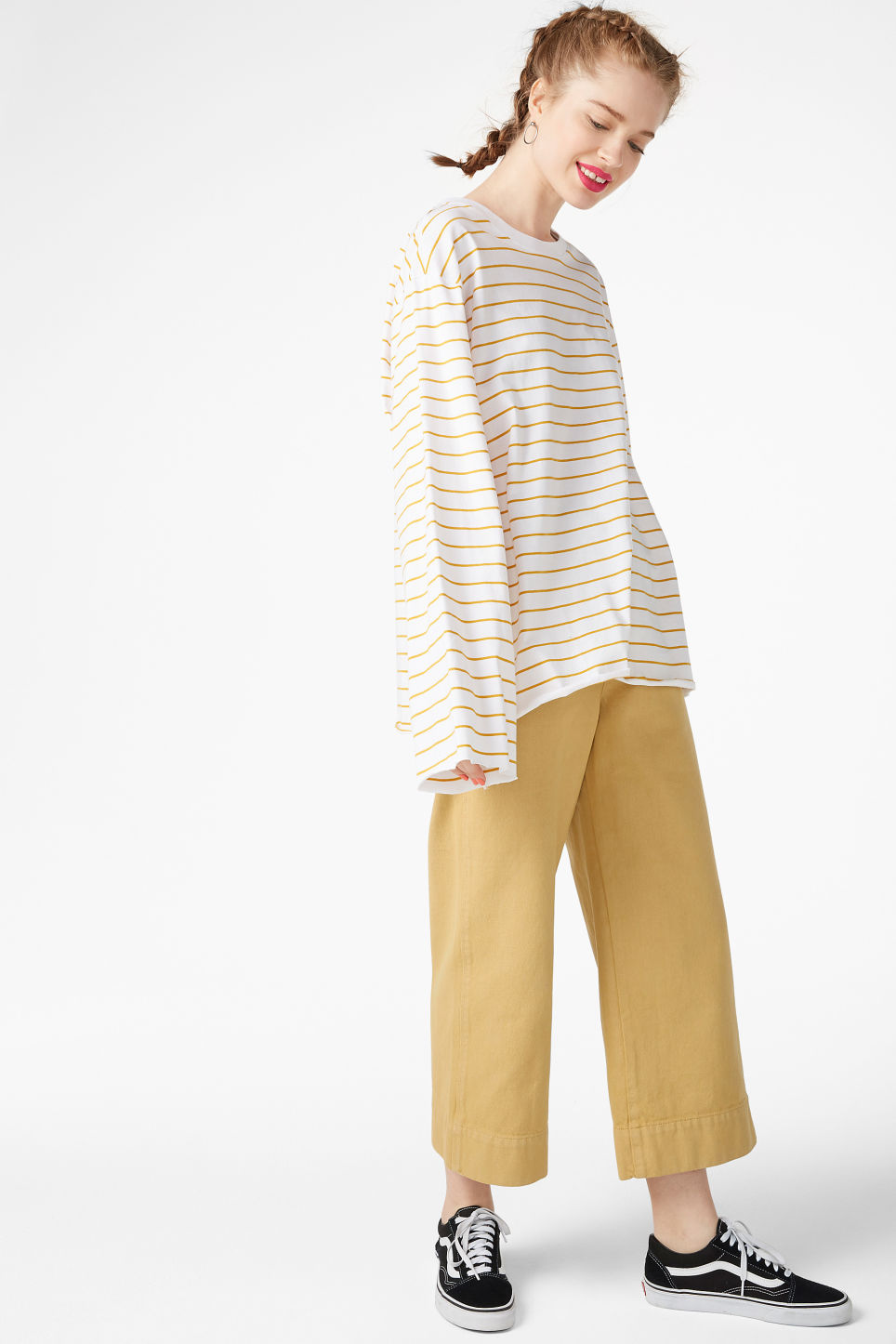 Model side image of Monki wide sleeve top in white
