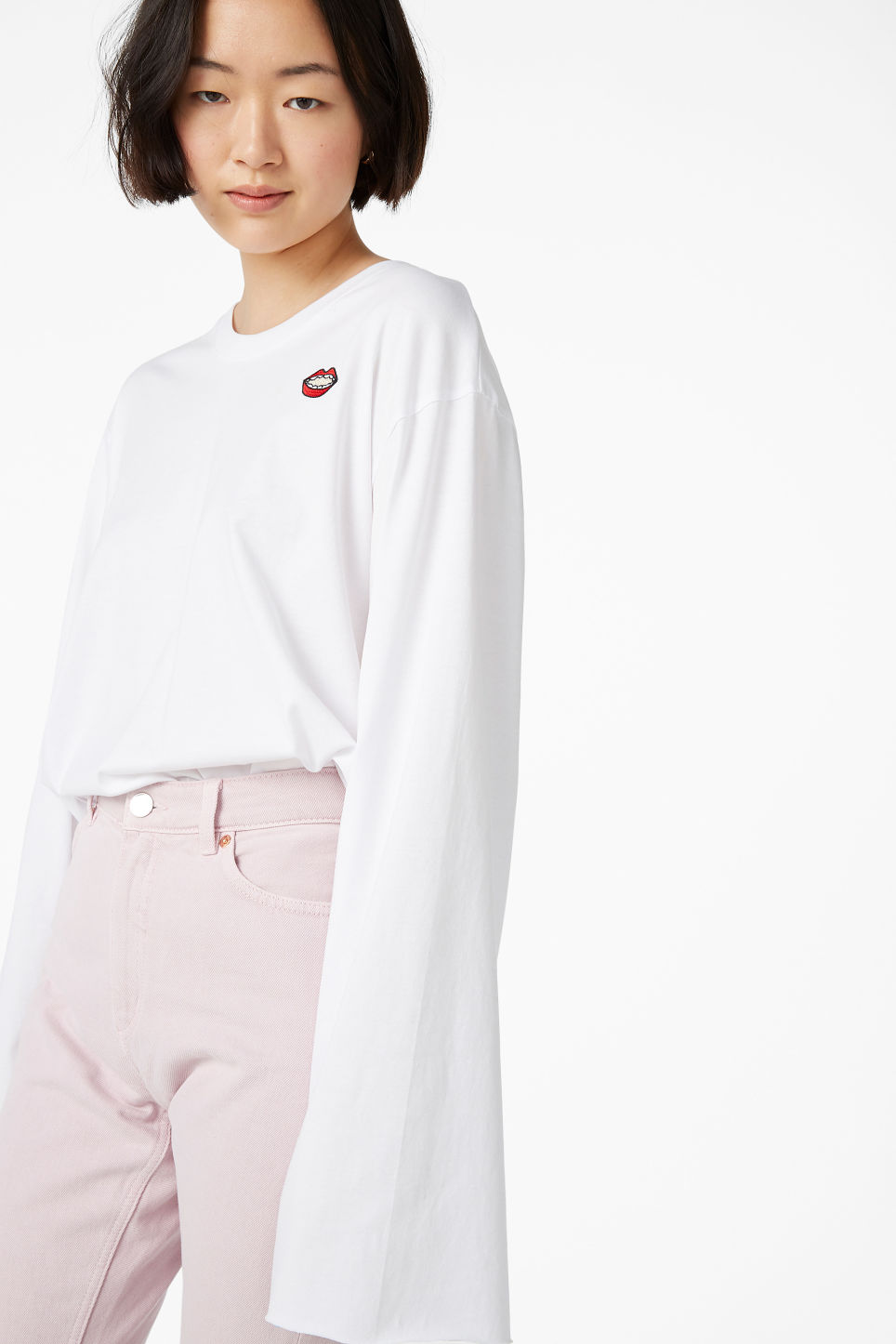 Model front image of Monki wide sleeve top in white