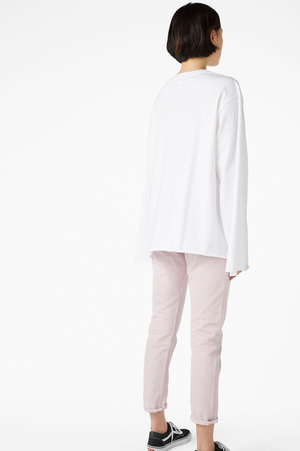 Model back image of Monki wide sleeve top in white