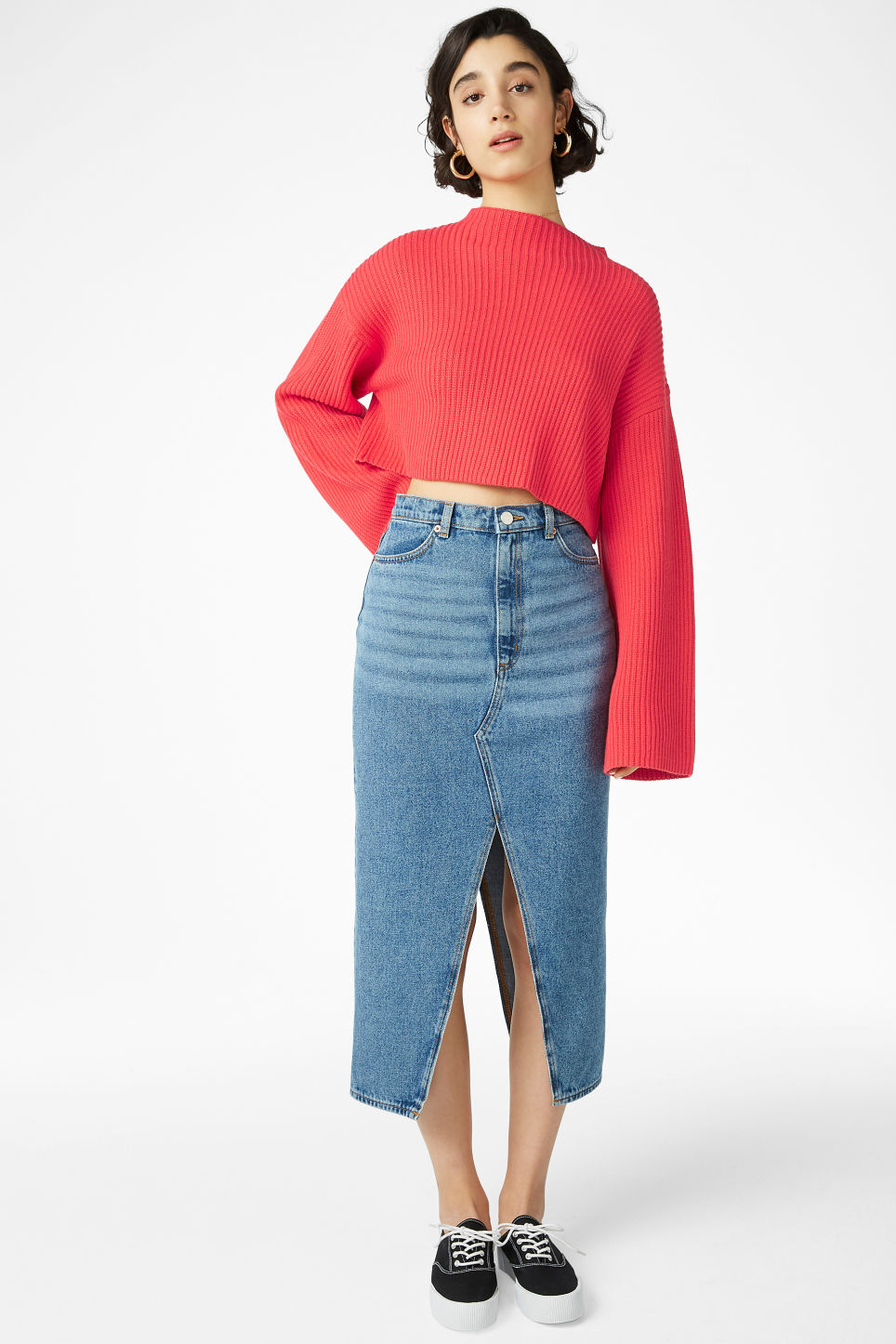 Model front image of Monki long denim skirt in blue