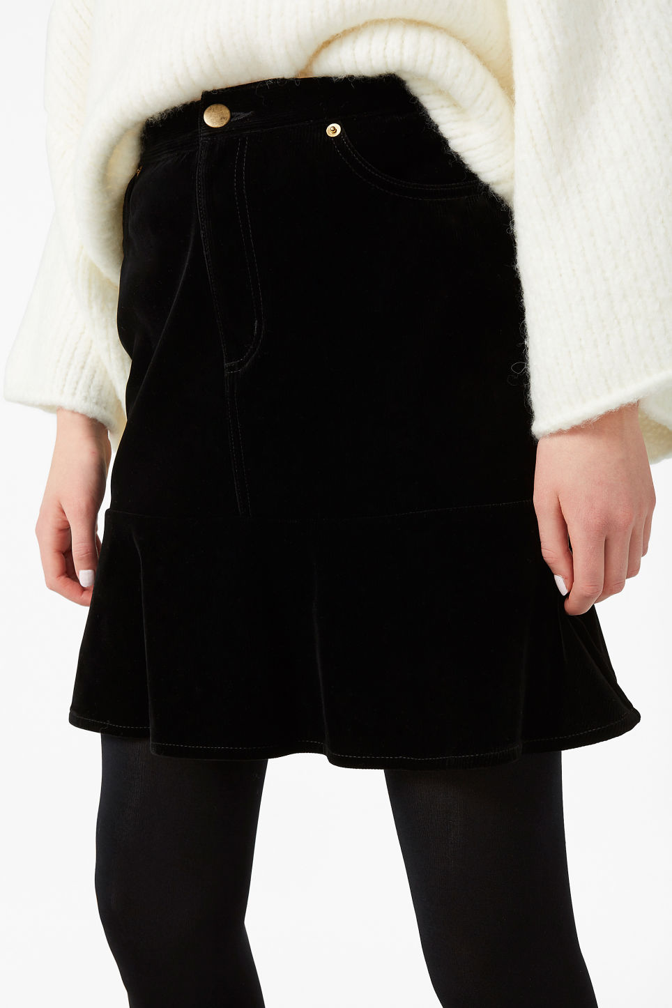 Model front image of Monki velvet skirt in black