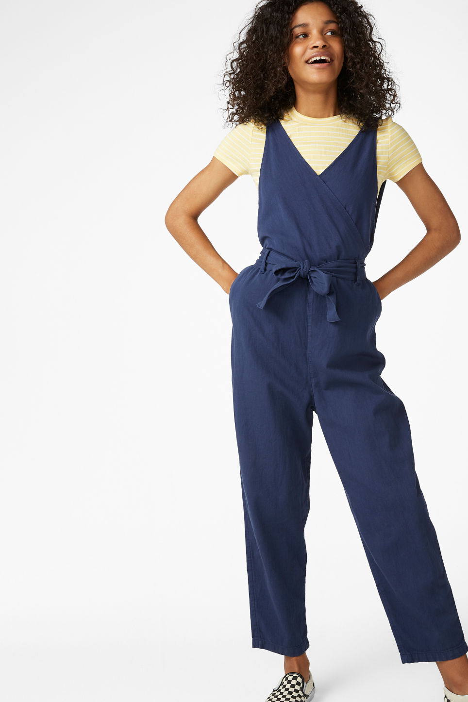 Model front image of Monki denim jumpsuit in blue