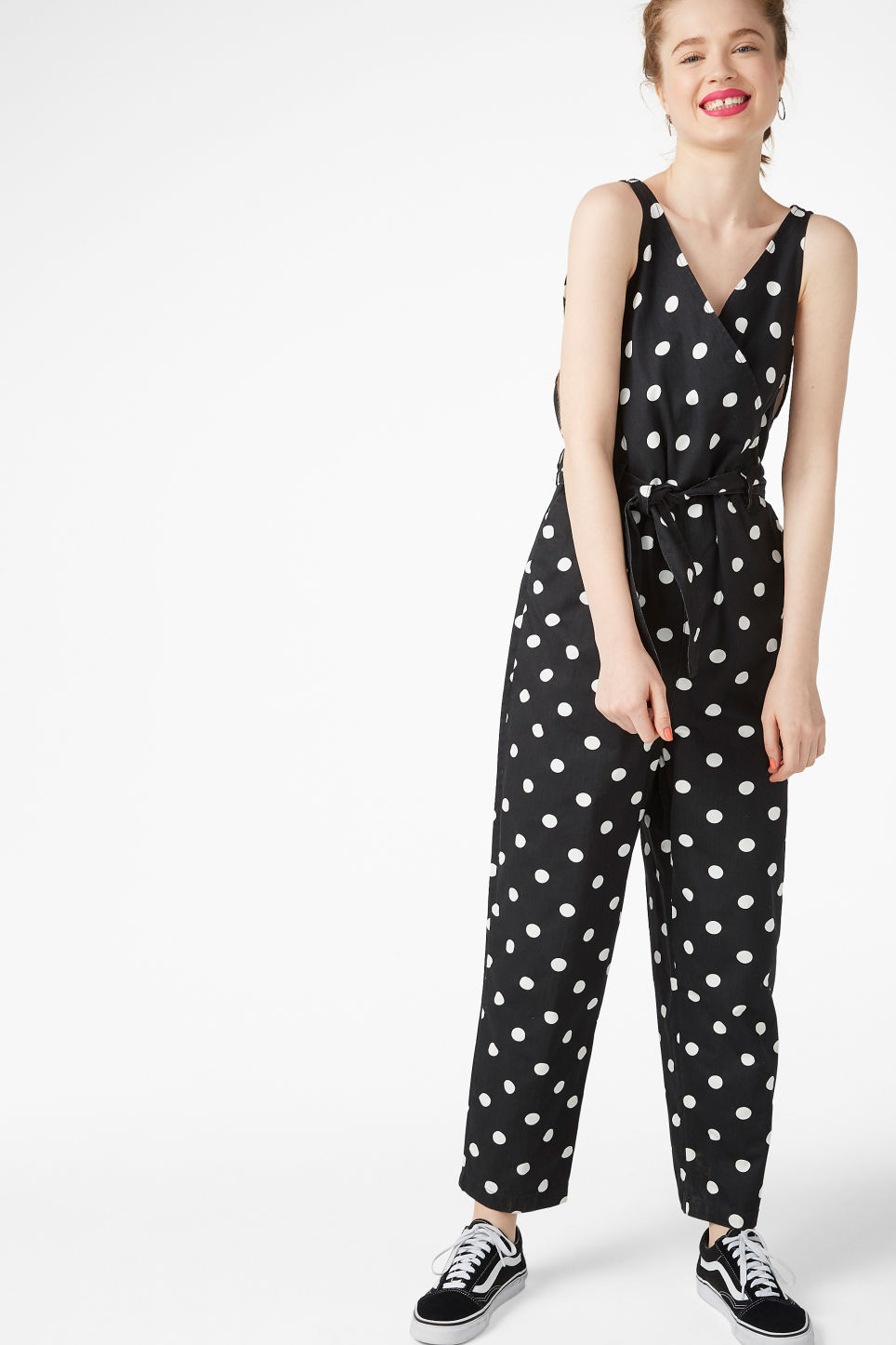 Model front image of Monki denim jumpsuit in black