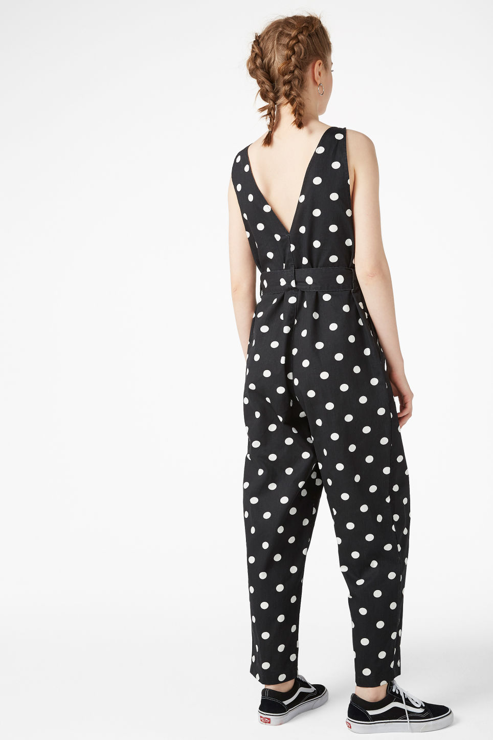 Model back image of Monki denim jumpsuit in black