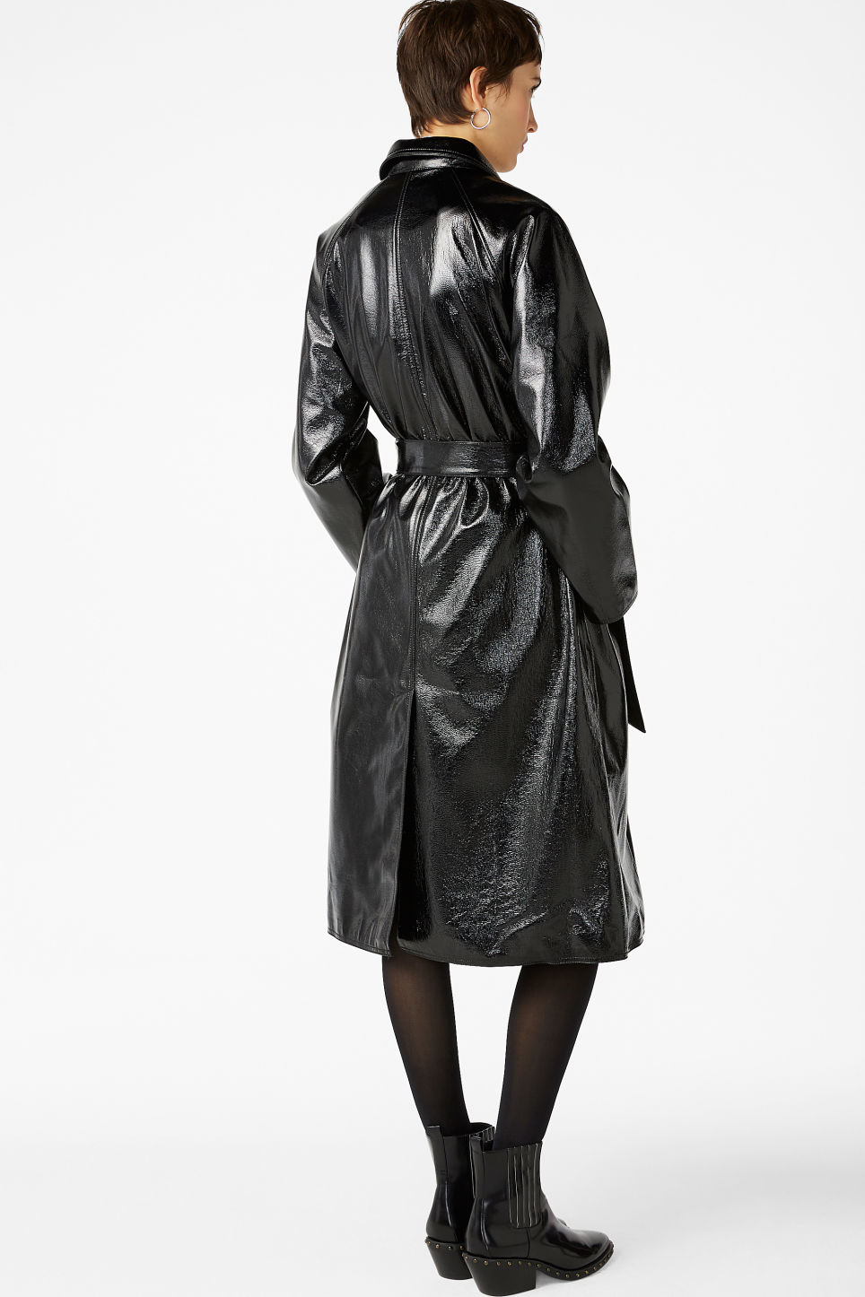 Model back image of Monki patent trench coat in black