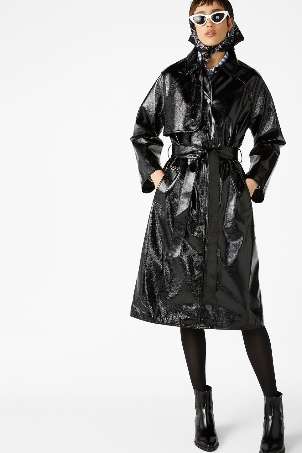 Model front image of Monki patent trench coat in black