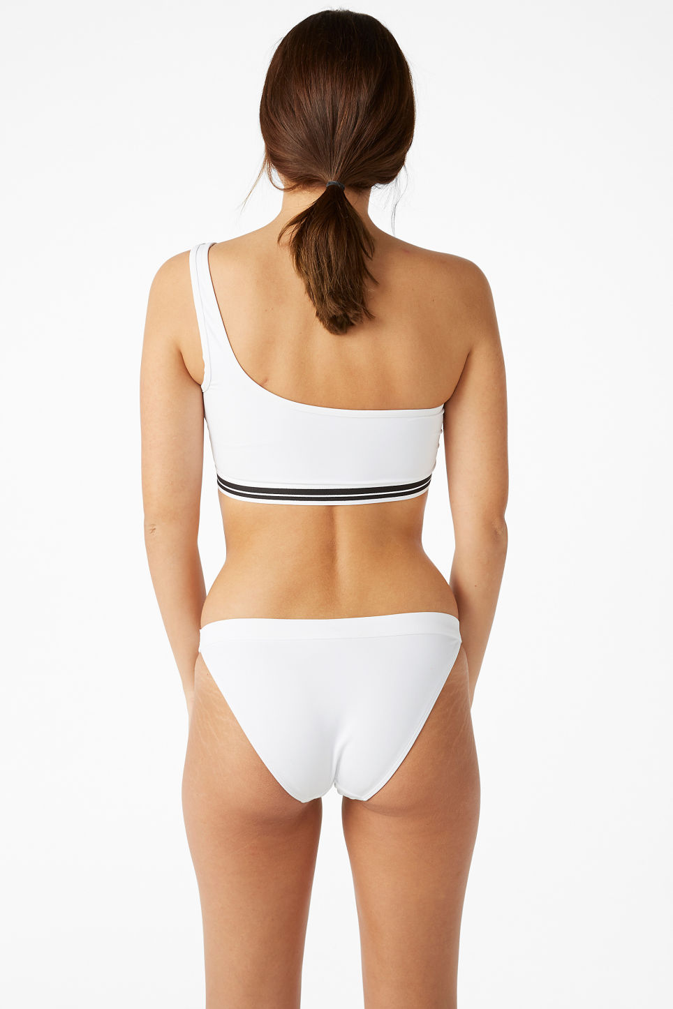 Model back image of Monki one shoulder bikini top in white