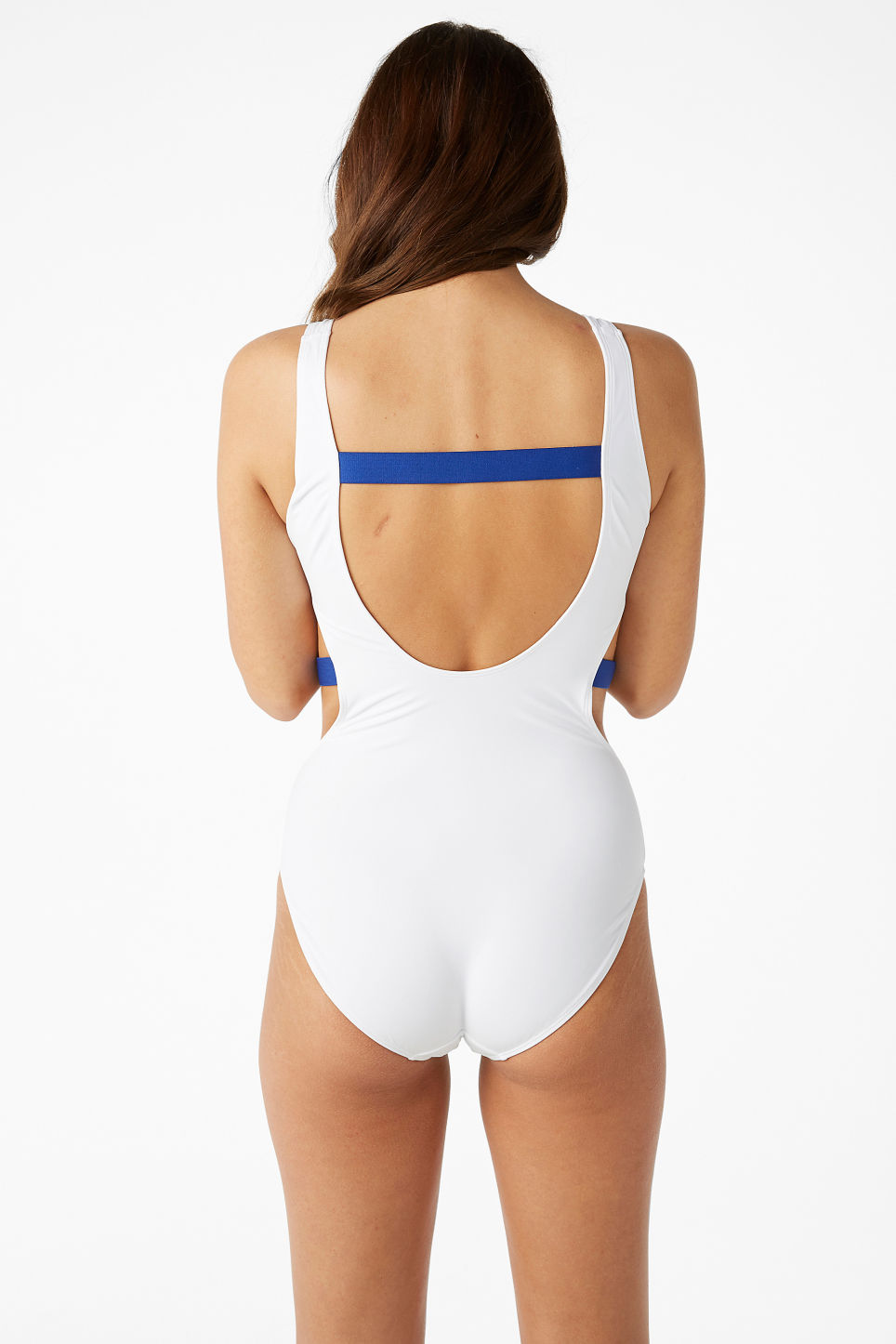 Model back image of Monki cut-out swimsuit in white