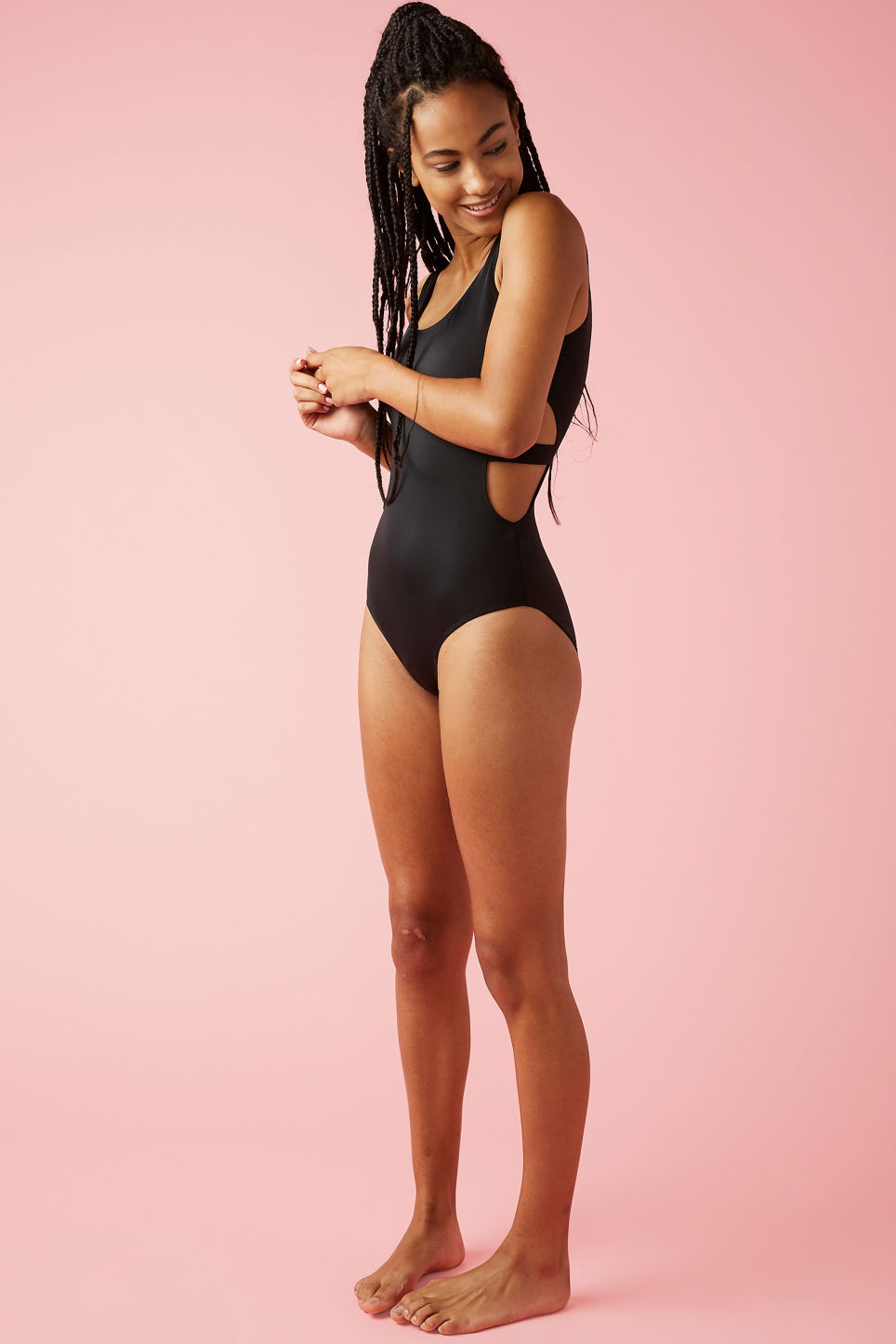 Model front image of Monki cut-out swimsuit in black