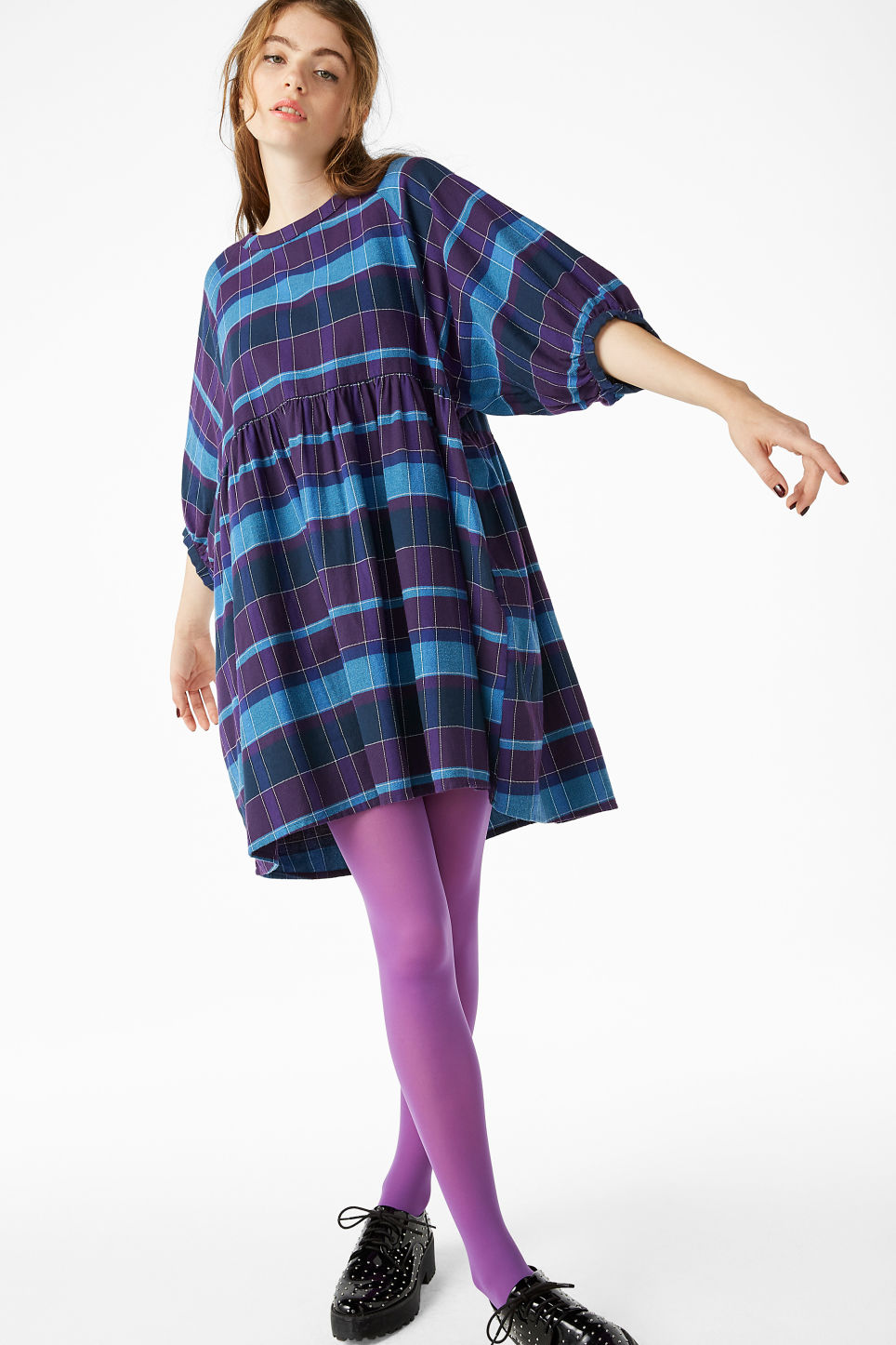Model front image of Monki wide check dress in purple