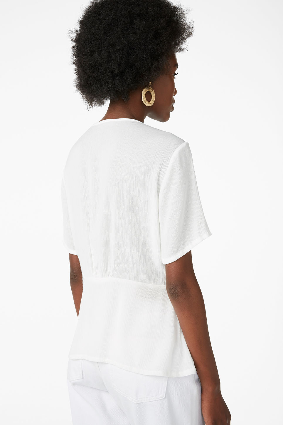 Model back image of Monki romantic blouse in white