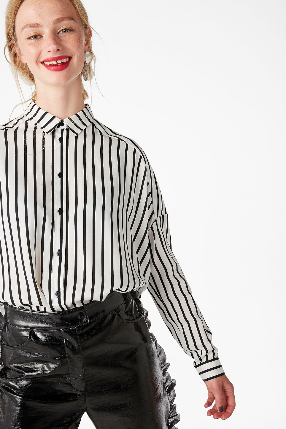 Model back image of Monki oversize button down blouse in white