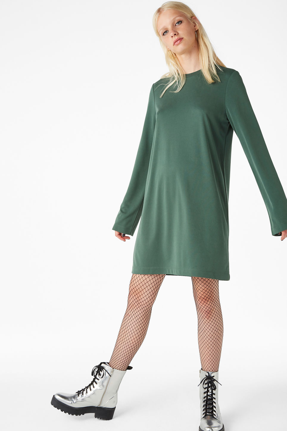 Model front image of Monki soft t-shirt dress in green