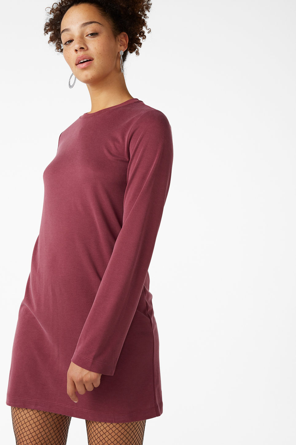 Model front image of Monki soft t-shirt dress in red