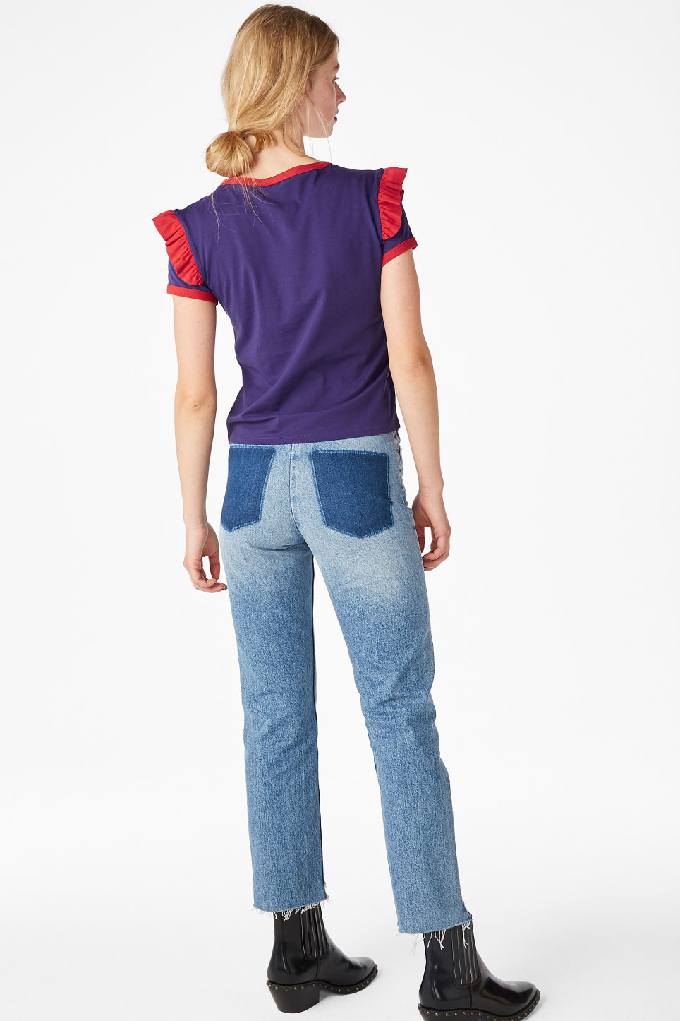 Model back image of Monki ruffle ringer tee in purple
