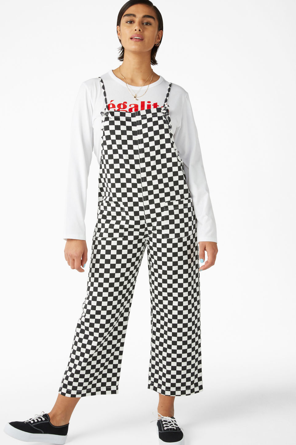 Model front image of Monki denim dungarees in white
