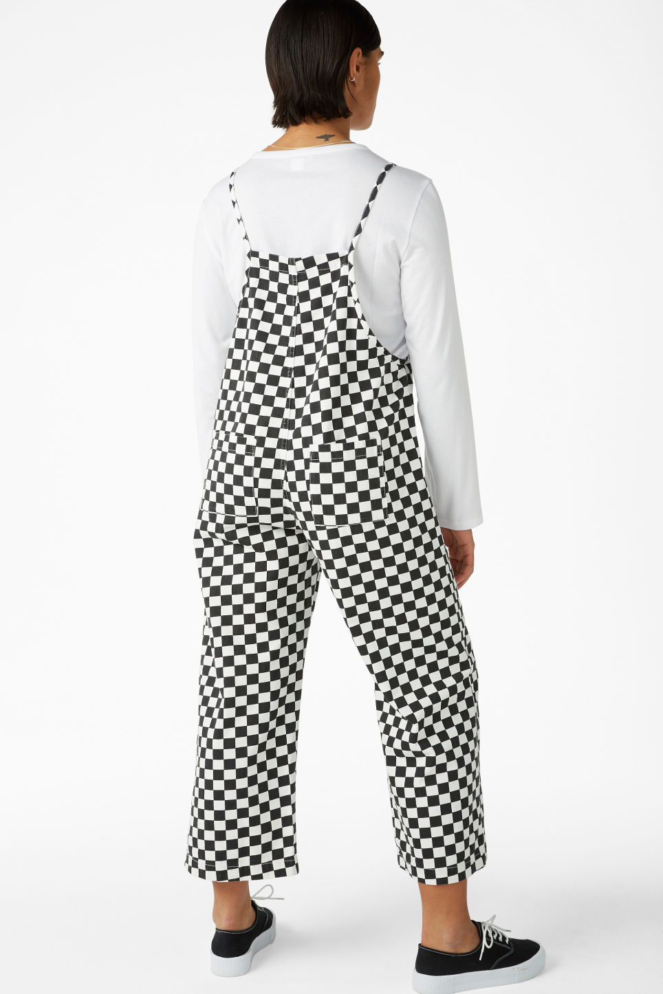 Model back image of Monki denim dungarees in white