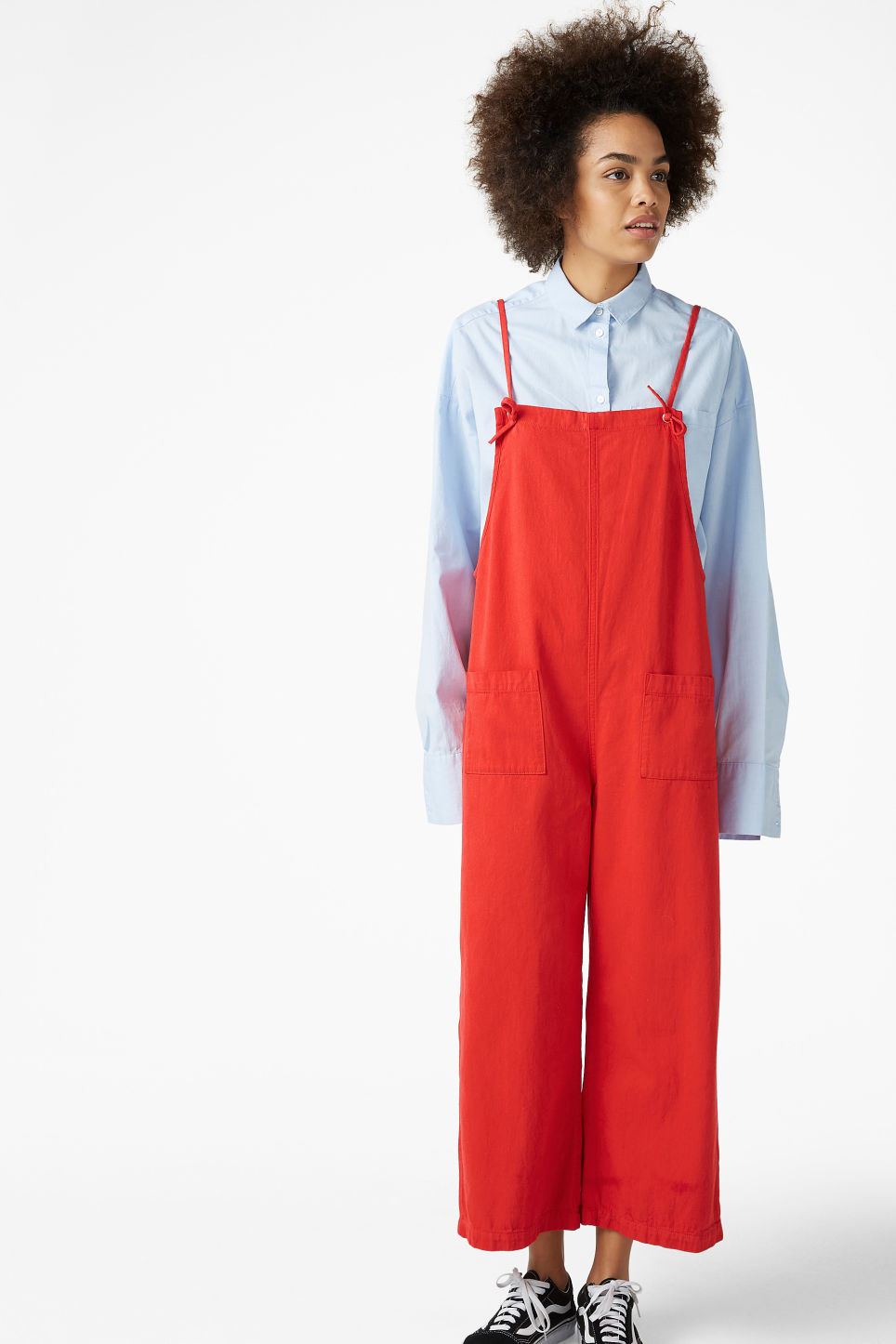 Model front image of Monki denim dungarees in red