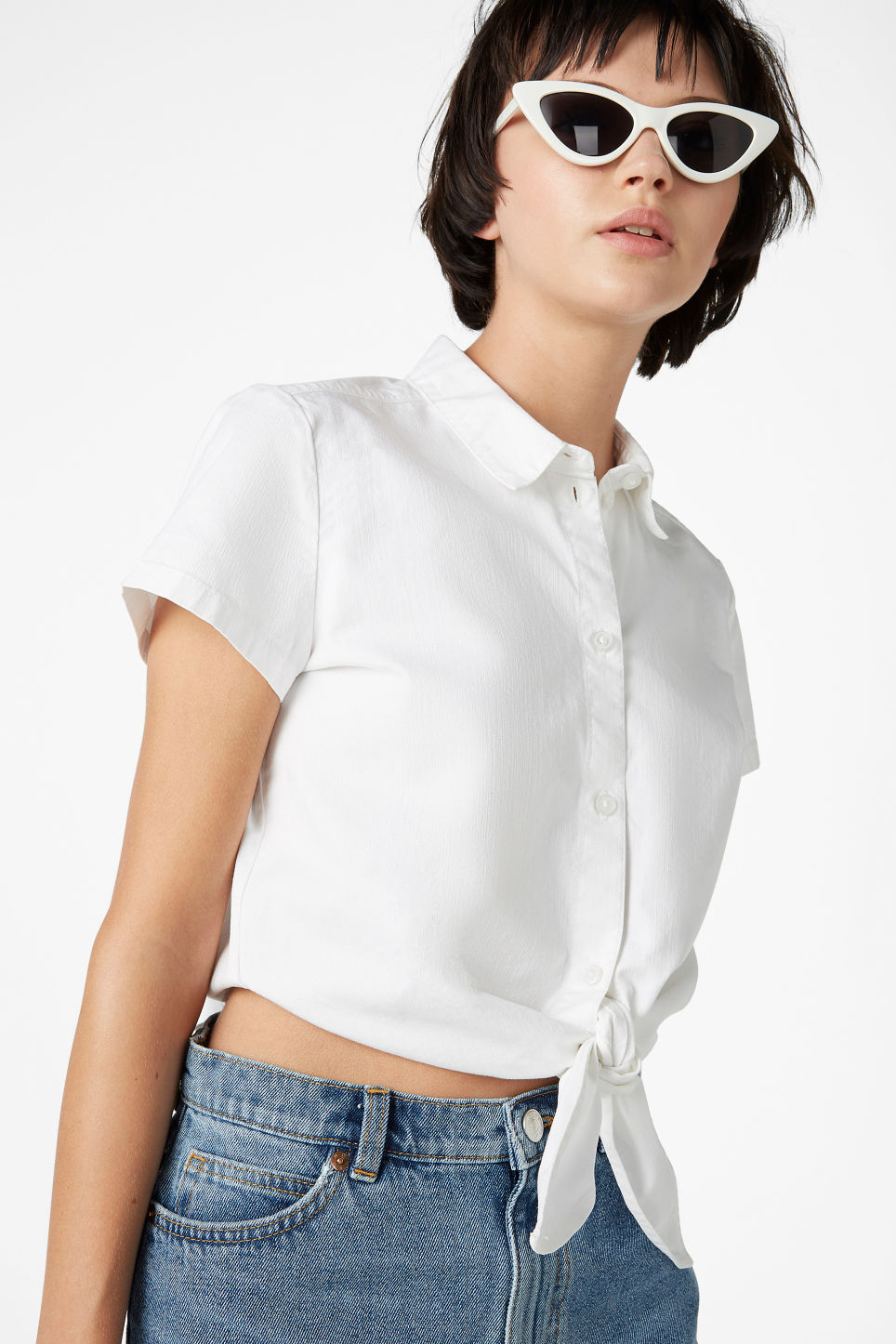 Model front image of Monki denim tie front blouse in white