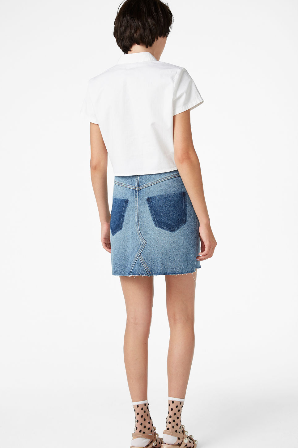 Model back image of Monki denim tie front blouse in white