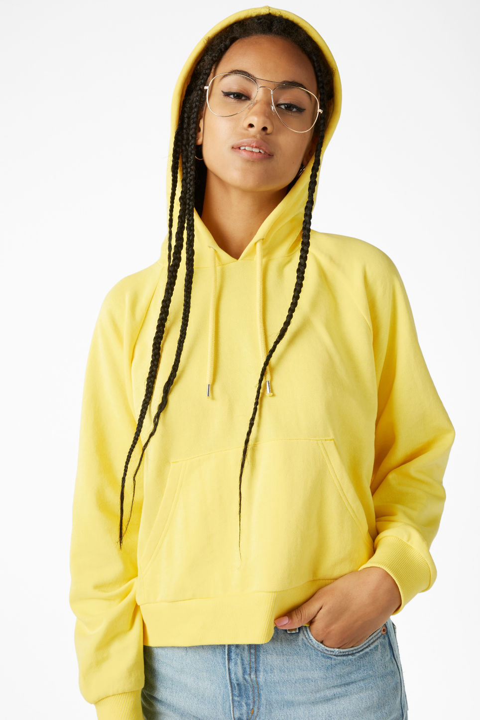 Model front image of Monki cropped hoodie in yellow