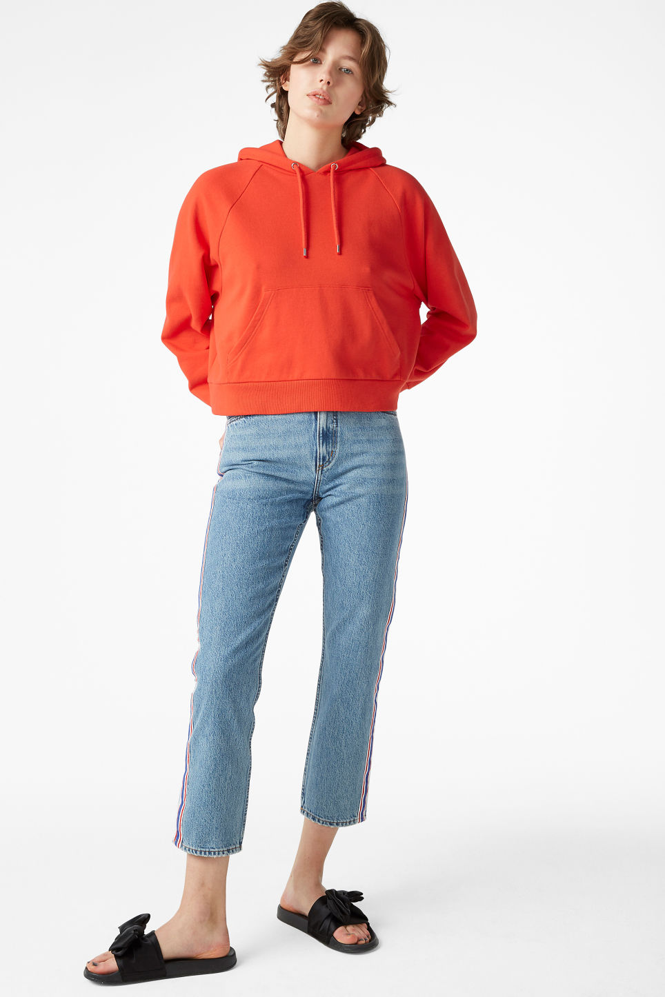 Model front image of Monki cropped hoodie in red