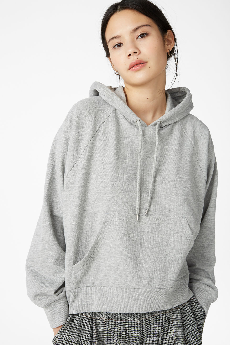 Model front image of Monki cropped hoodie in grey