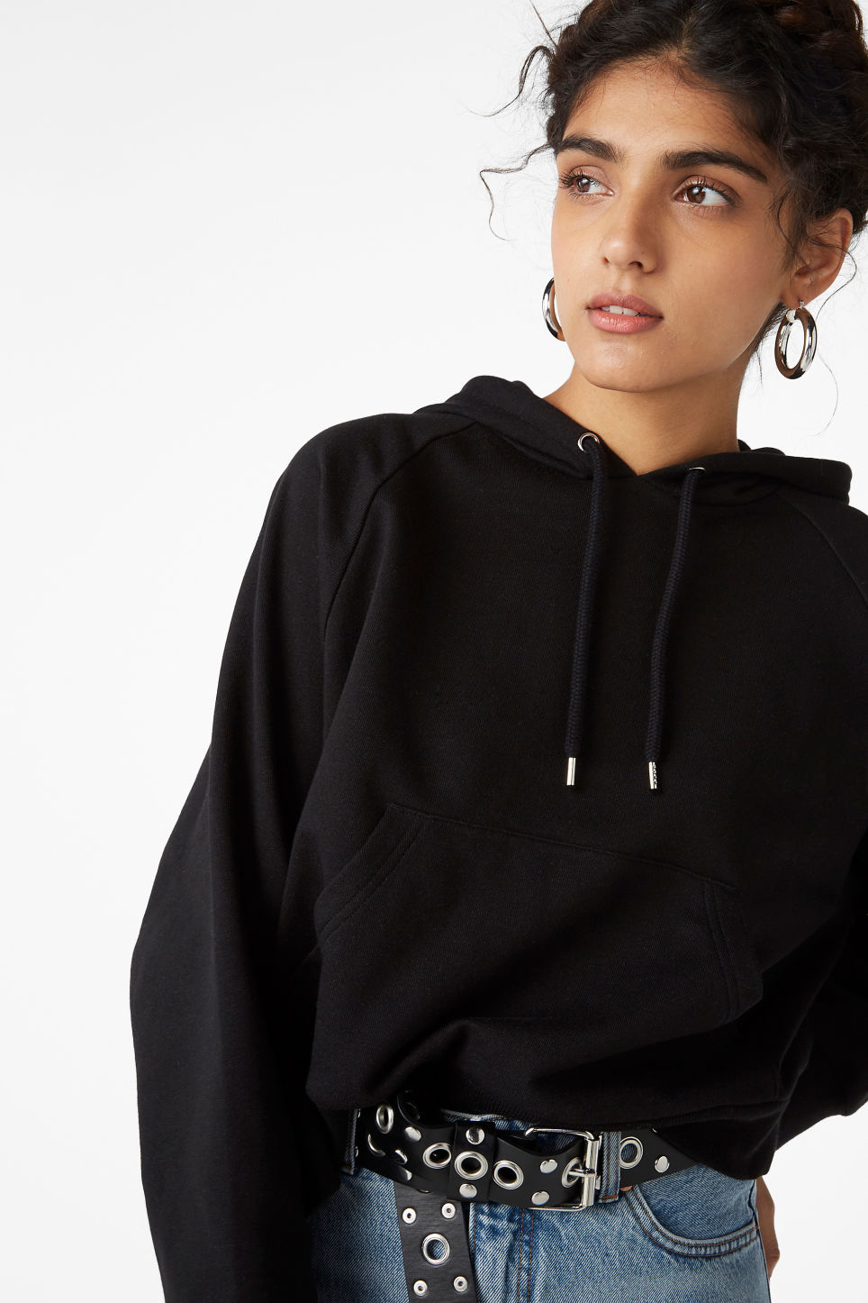 Model front image of Monki cropped hoodie in black