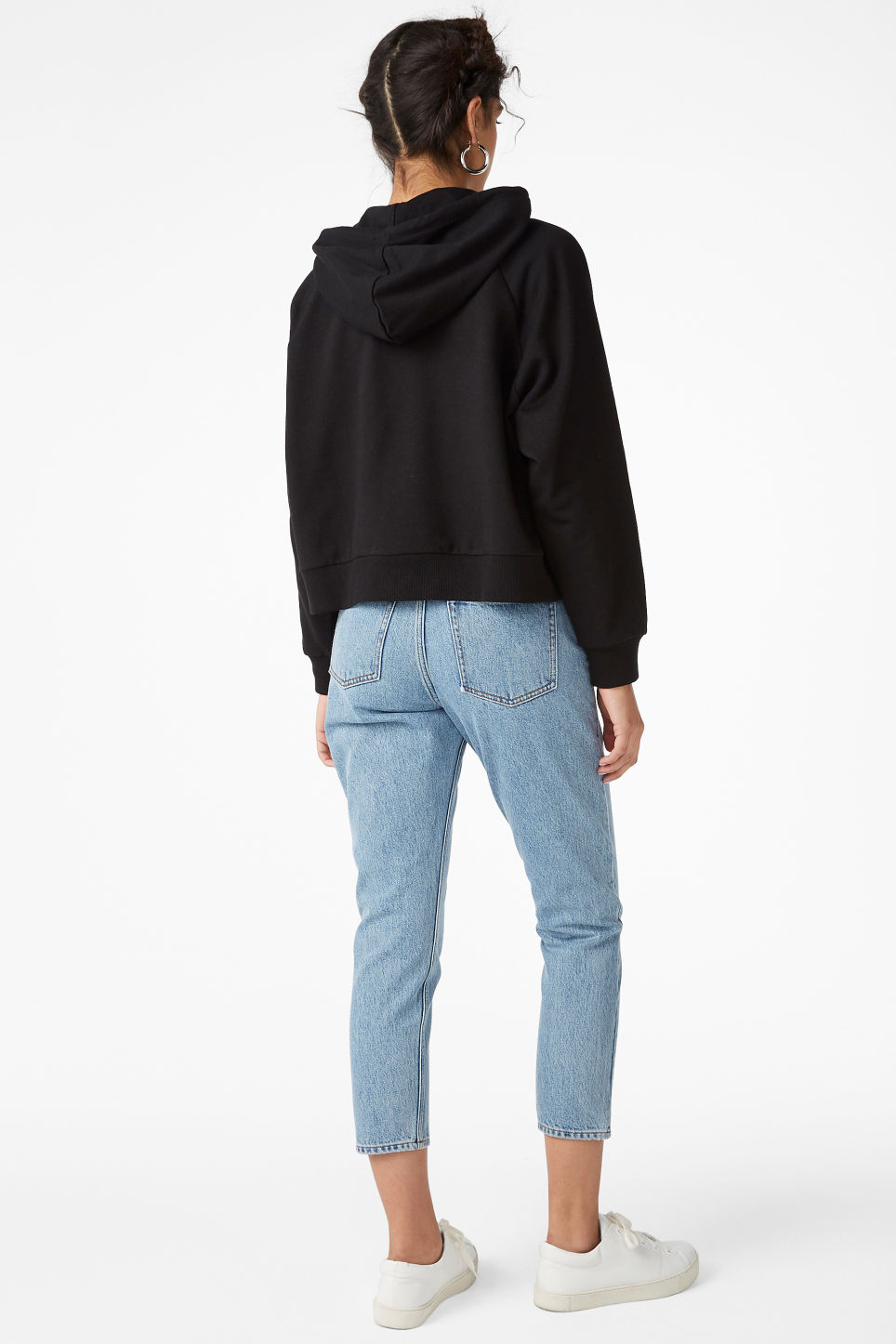 Model back image of Monki cropped hoodie in black