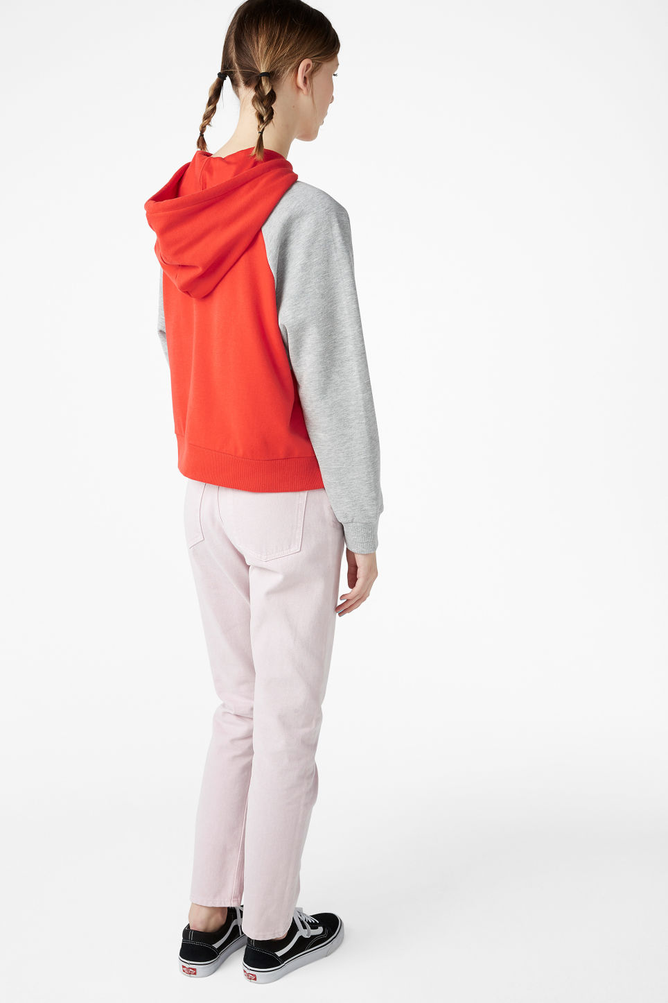 Model back image of Monki cropped hoodie in red