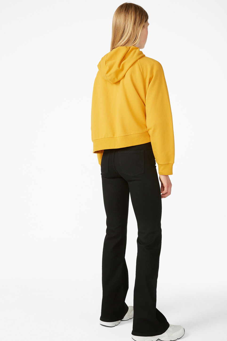 Model back image of Monki cropped hoodie in yellow