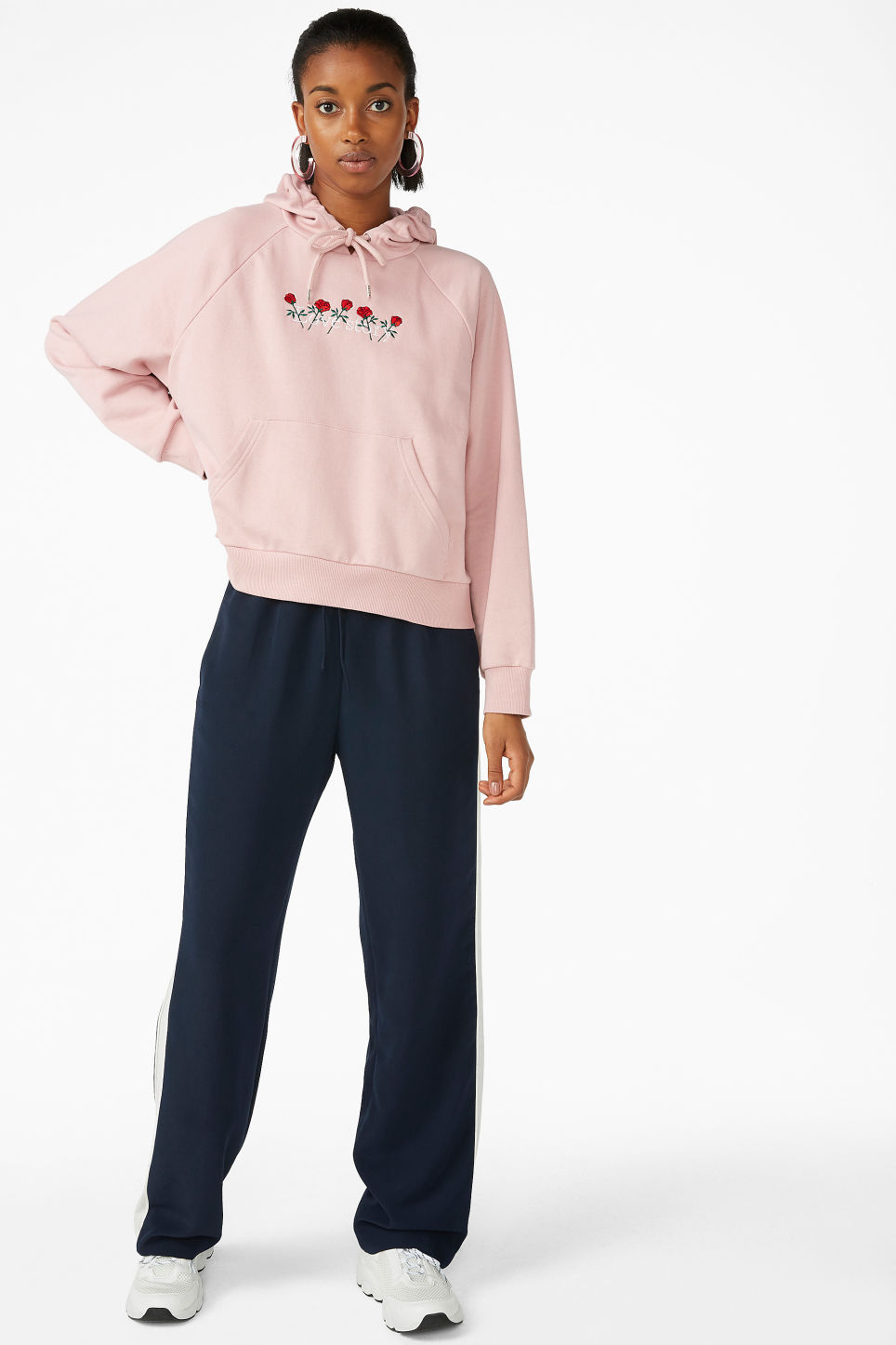 Model front image of Monki cropped hoodie in pink
