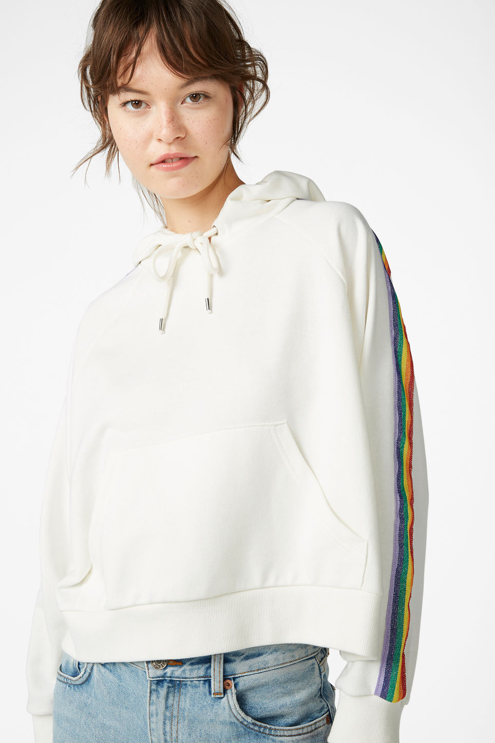 Model front image of Monki cropped hoodie in white