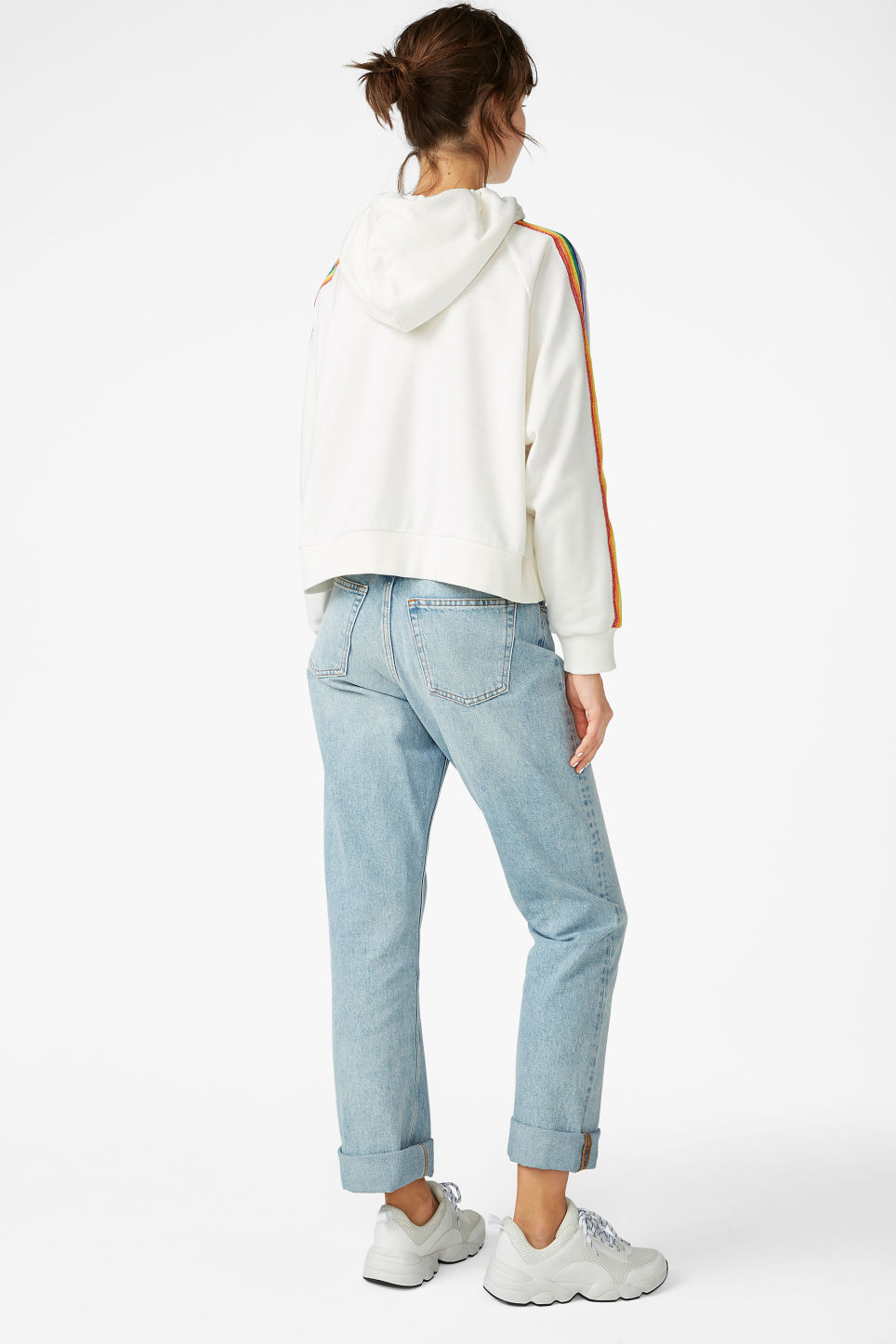 Model back image of Monki cropped hoodie in white