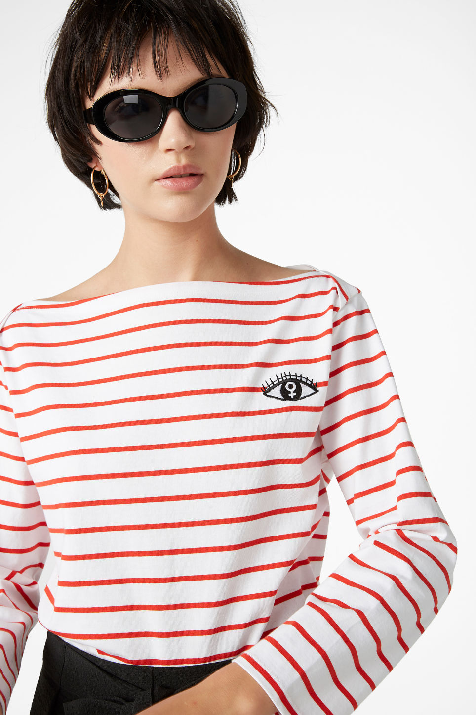 Model front image of Monki long-sleeved top in red