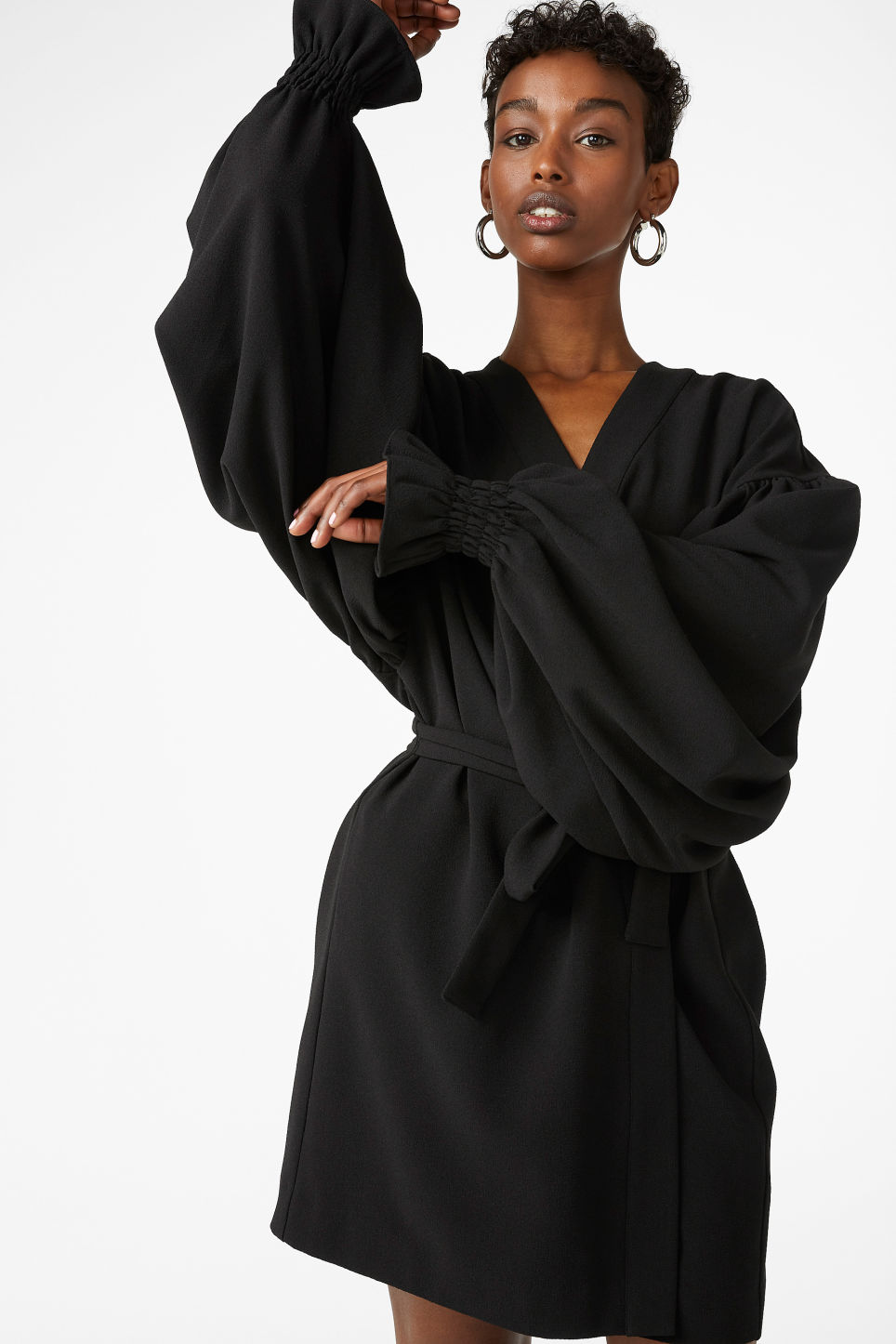 Model front image of Monki kimono-style blouse in black