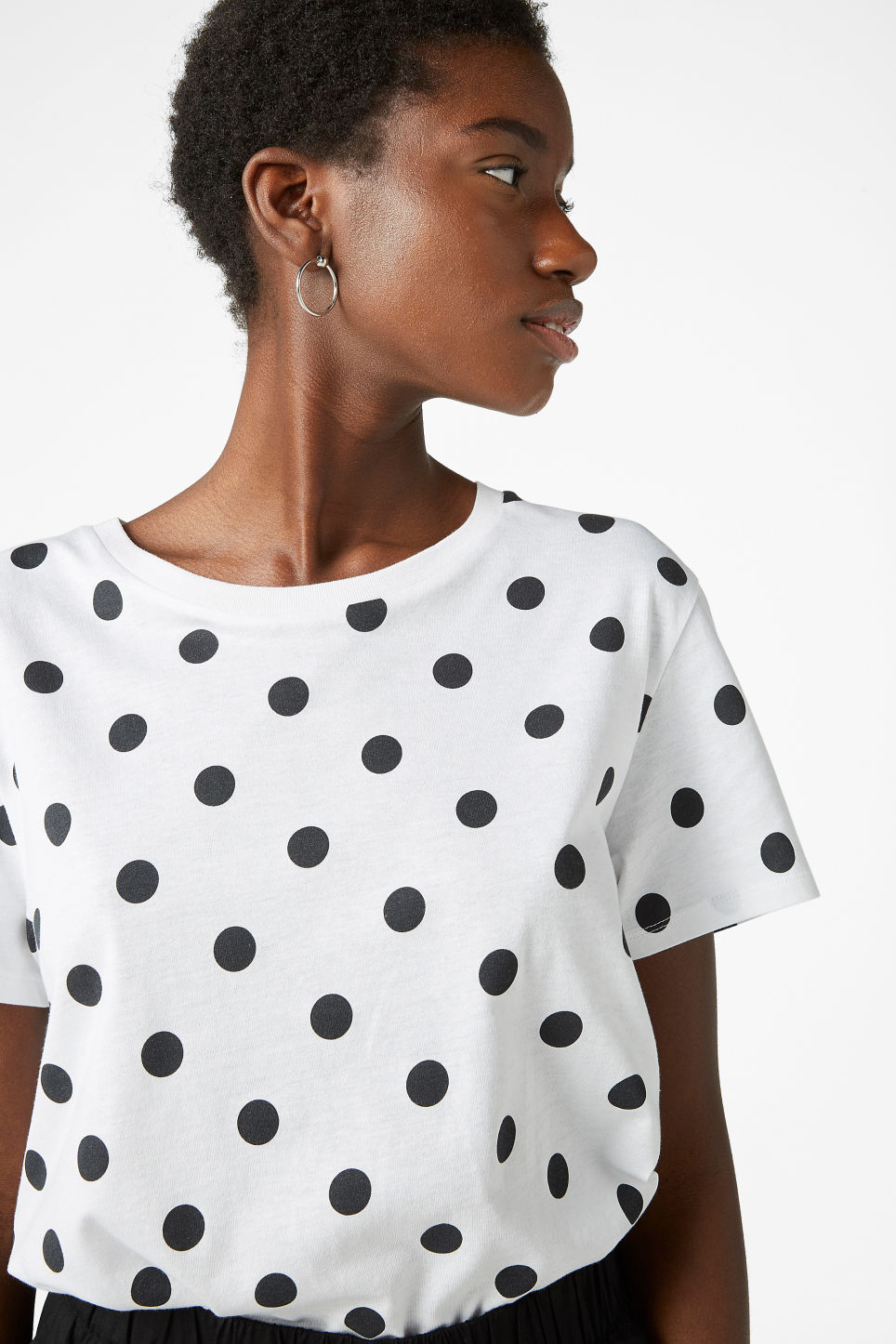 Model front image of Monki soft tee in white