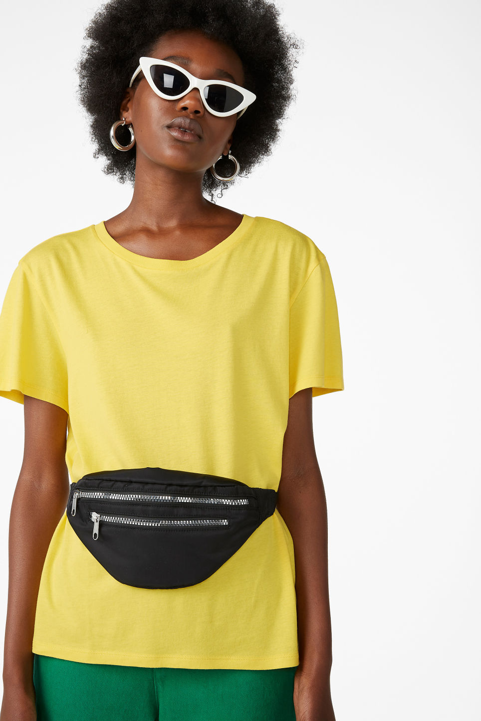 Model front image of Monki soft tee in yellow