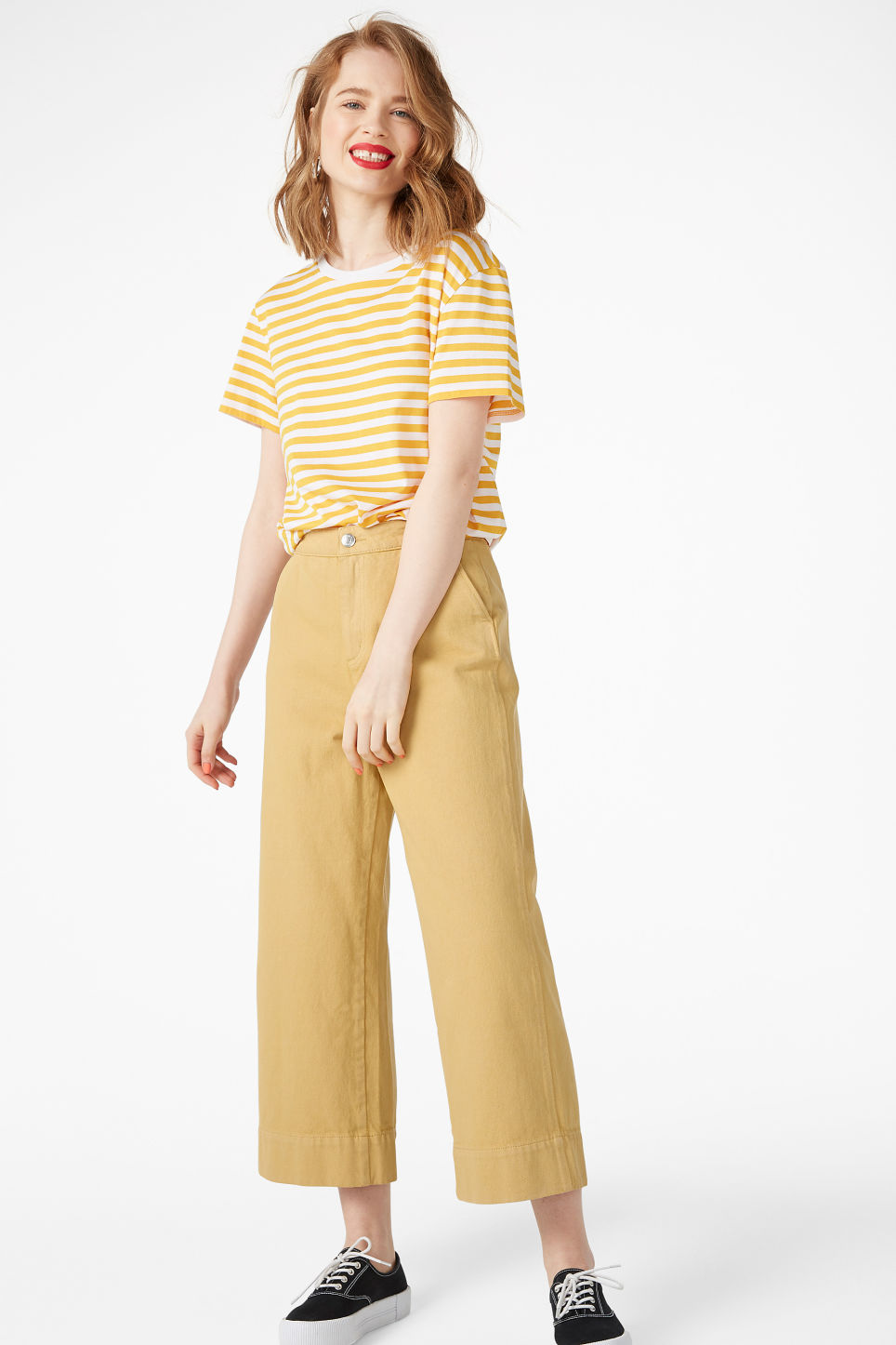Model side image of Monki soft tee in yellow