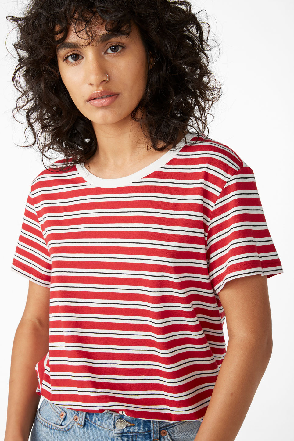 Model front image of Monki soft tee in red