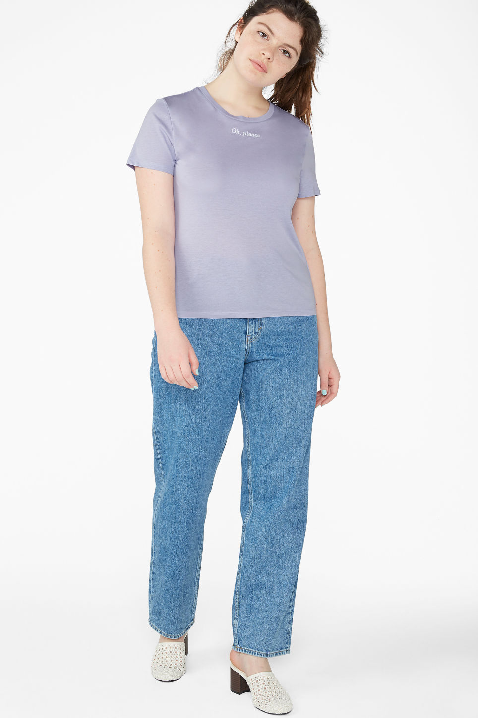 Model front image of Monki soft tee in purple