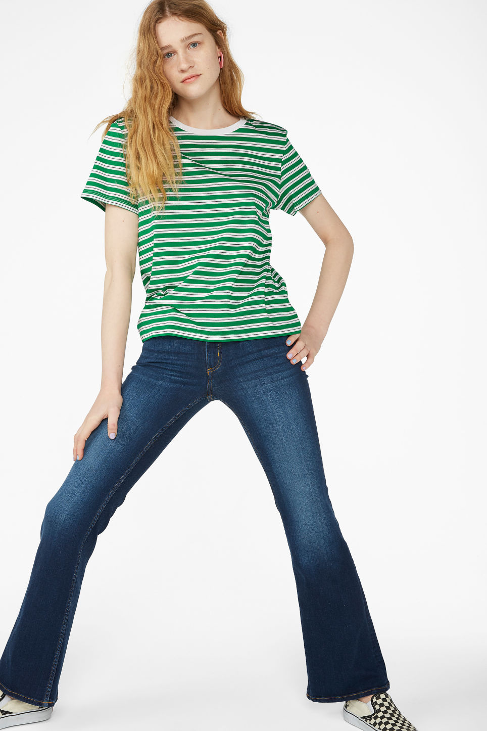 Model front image of Monki soft tee in green