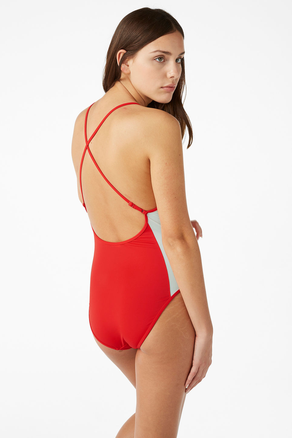 Model back image of Monki cross back swimsuit in red