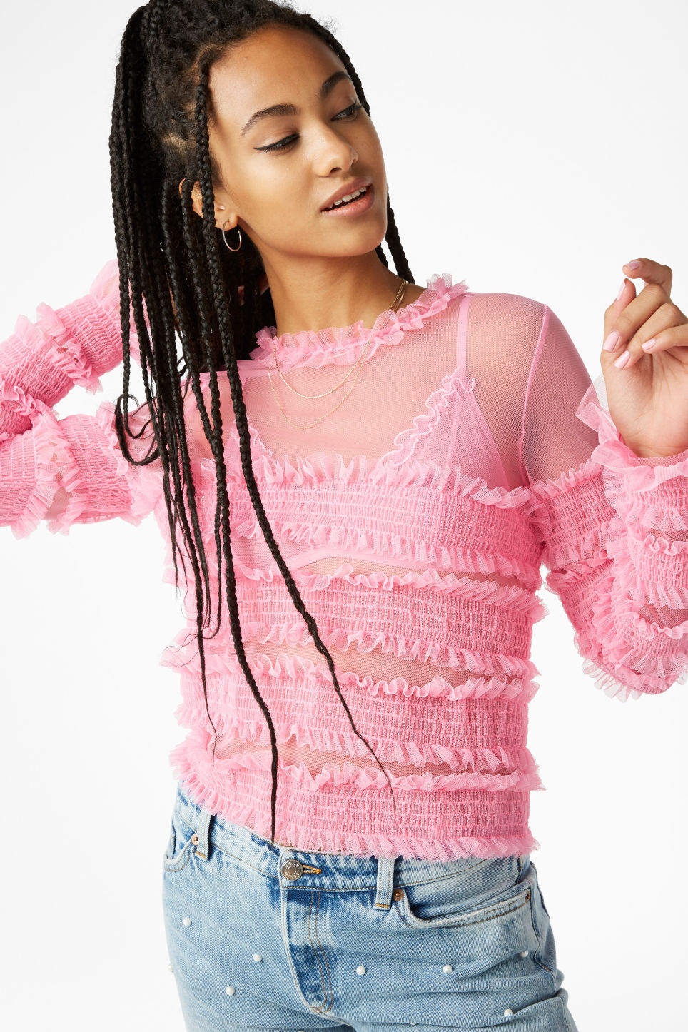 Model front image of Monki ruffled top in pink