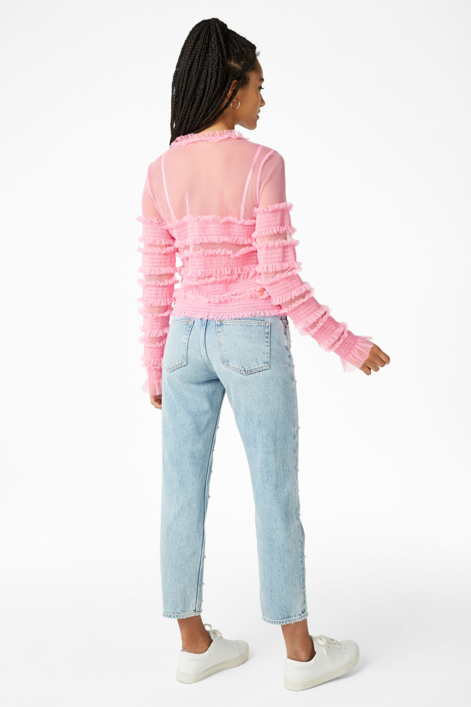 Model back image of Monki ruffled top in pink