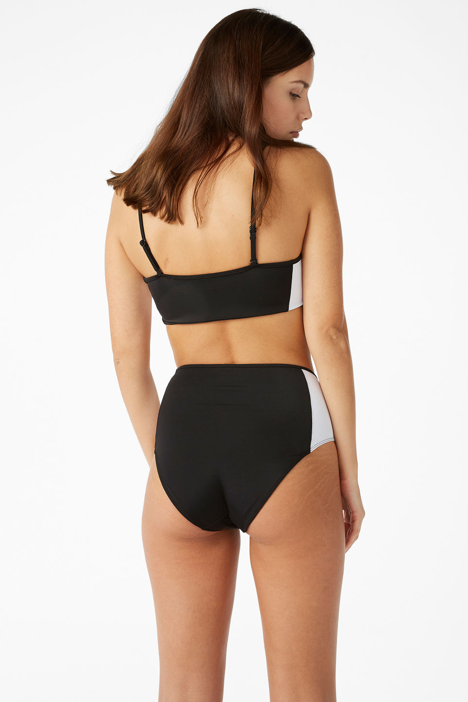 Model back image of Monki high-waisted bikini briefs in black